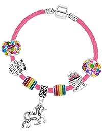 Charm Buddy pour Fille Fuchsia Cuir Licorne Anniversaire Bracelet à  Breloques Boîte Cadeau et Lot de