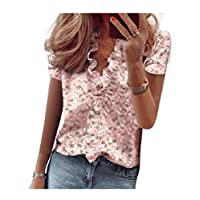 DUe Womens Pinapple Printed Short-Sleeve Flounced Blouse Slim Fit Tees Top Pink L