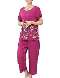Guiran Pijamas Dos Piezas para Mujer Conjunto De Pijama Mangas Cortas Pijama Púrpura XL