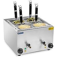 Royal Catering RCNK-4 Nudelkocher Pastakocher Elektrisch Gastro (4 L, 4 Körbe, 2 x 1500 W, 230 V, 30–110 °C, Ablasshahn, Edelstahl)