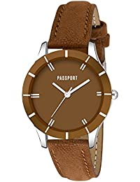 Passport Brown Dial Classic Casual Watch For Women| Classic Classic Casual Watch For Girls & Womens (OPTK-PL-57)