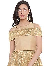 696cf704f7fad Studiorasa Cotton Silk   Brocade Cold Shoulder Crop Top