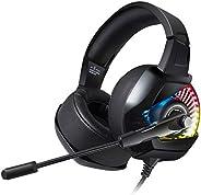 AIXMEET Gaming headset voor PS4, surround sound LED-licht, professionele kabelgebonden hoofdtelefoon met microfoon voor PC,