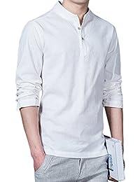 Sky Moda Personalidad de Los Hombres Marca de Manga Larga Camisas de Lino Playa Camiseta de