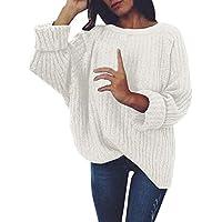 NINGSANJIN Damen Pullover Frauen gestrickt tief O-Ausschnitt Langarm Wrap Front lose Pullover Pullover Jumper