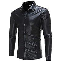 Yvelands Camisa de Manga Larga con Estampado Casual de los Hombres Fashion Personalizada Estampado en Caliente Cool Performance Blazer Blusa Top