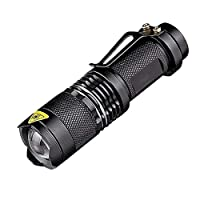 Flashlight Mini Torch Handheld LED Emergency Lights High Lumen Zoomable Light for Outdoor Camping Hiking Fishing Climbing Hunting Backpacking(Black)