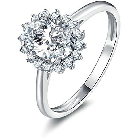 (Personalizzati Anelli)Adisaer Anelli Donna Argento 925 Anello Fidanzamento Incisione Gratuita Hemp Fiori Cut Anello Diamante