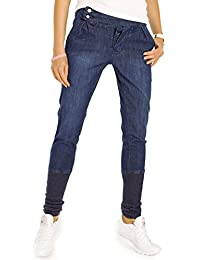 Bestyledberlin Damen Baggyjeans, Boyfriend-Jeans Relaxed Fit, Pumphose, breiter Gummibund Saum j38i