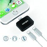 2 in 1 lightning adapter für iPhone 7/7 Plus,Wofalo Dual Mini AUX Splitter Audio + aufladen Sync Daten kompatibel mit iOS 10.3 System (Schwarz)