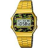 Casio Collection – Reloj Unisex Digital con Correa de Acero Inoxidable – A168WEGC-3EF