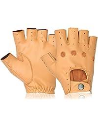 Men's Leather Slim Fit Gloves Half Finger Classic English Motorbike Driving