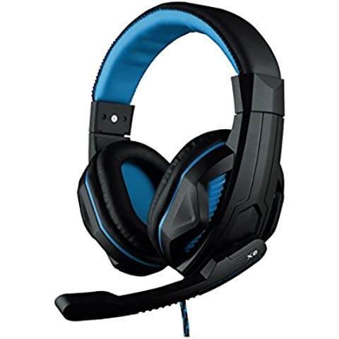 Ovann Max Stereo Gaming Headset Pc, Over-Ear Noise Cancelling Headphones con controllo del volume, microfono flessibile per Computer Game, tablet, computer portatili (Black&blue-X2)