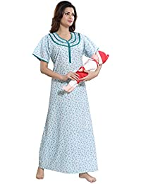 TUFAB Women s Cotton Small Flower Print Long Zip Pattern Nighty Nightwear Nighties  (Multipurpose bad36d618