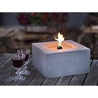 Beske-Betonfeuer mit 'Dauerdocht' | Größe 24x24x13 | Wiederbefüllbare Gartenfackel | 'Unendliche' Brenndauer durch umweltfreundliches Recycling von Kerzenwachs