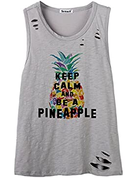 So'each Women'S Keep Calm and Be Pineapple Cotton Hole Tee T-Shirt Cami Tank Top