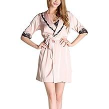 Aivtalk - Mujeres Conjunto de 2 Piezas Pijama de Seda de Imitación Vestidos con Bata Encaje Talla M-XL, Rosa, Violeta, Color de Vino, Champán