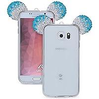 URCOVER Custodia Mouse Back Case | Back Cover Orecchie Topo Samsung Galaxy S6 | Topolino Fashion Glamour | Silicone TPU e Brillantini Glitter in Argento