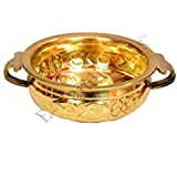 E-Handicrafts Brass Bowl for Floating Flowers, Cooking, Gold(Diameter: 6-inch and Height: 2.5-inch)