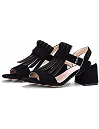 Zapatos de mujer de verano, gamuza, sandalias, zapatos de tallas grandes, tacones altos,negro,42