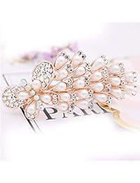 XIAOBAI Pinzas para el pelo, accesorios para el cabello, diamantes de imitación, perlas, joyería Piedra preciosa artificial incrustada de aleación/piedra semipreciosa, 9cm * 4.5cm, mariposa