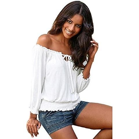 Culater® Las mujeres del hombro de la blusa de manga larga T ocasional tapas de la camisa