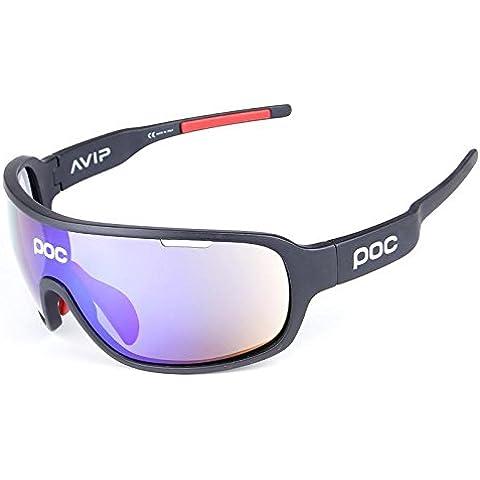 COOLLINE Al aire libre caballo medio marco polarizado gafas/gafas de sol sport, vaya viento y arena radiación gafas/compacto, ligero, usar sensación ingrávida , black