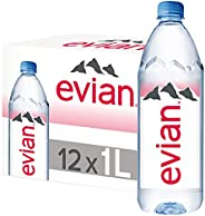 Evian Natural Mineral Water - 1 litre (Pack of 12)