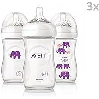 "PHILIPS AVENT ""ELEPHANT"" Nr. 627/16 - 3x Bottles Silicone260ml, 9oz (1m+)/ PURPLE"