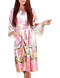 Bata para Mujer Kimono Satén Noche Suave Calentamiento Bata Albornoz con Geisha Y Flor Modernas Casual