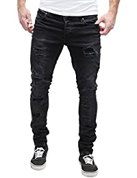 MERISH Jeans Hommes Vintage Look patché Slim Fit Modell J2046