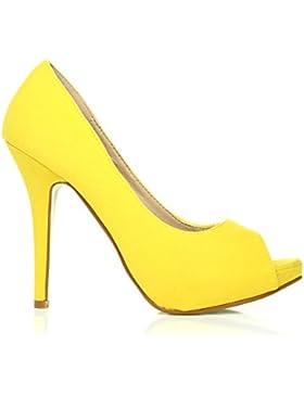 TIA scarpe da donna in finta pelle scamosciata con plateau e tacco a spillo e punta aperta