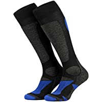 Piarini 2 Paar Unisex Skisocken Skistrumpf Herren, Damen und Kinder für Wintersport, Snowboard atmungsaktive Socken Knie-Strümpfe Thermosocken Funktionssocken aus Merino Wolle Outdoorsocken