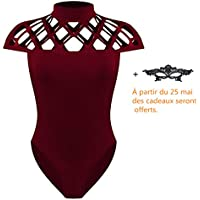 Sexy Femmes Bodysuit Jumpsuit Combinaisons Col Haut Bodycon Creux Hauts Nuisette Solide Bodys Élasticité Party Justaucorps Corset Chic