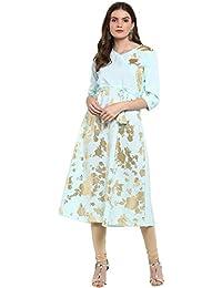 Ziyaa Women's Summer Blue Color Flared Foil Print Kurta (ZIKUCR2268)