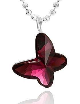 butterfly Mädchen Kette Silber 925 original Swarovski Elements Schmetterling-Anhänger purpur-rot längen-verstellbar...