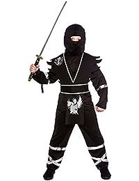 Boy'S Black/Silver Ninja Assassin Fancy Dress Costume