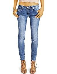 Bestyledberlin pantalon en jean femme, jean slim fit taille basse detruit j56i