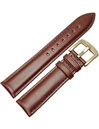 Bracelet en Cuir pour Femmes Hommes Douce et Lisse Bracelet Argent Or Métal Boucle 18 19 20 21 22 24 mm Brun Noir Bracelet, Marron Or Boucle, 17mm