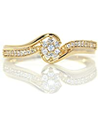 Silver Dew Pure 925 Sterling Silver 14K Yellow Gold Plated Flower Diamond Ring Special Valentine`s Day For Lovely...