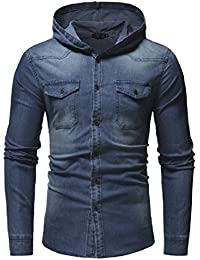 WQ&EnergyMen Mens Hoodie Denim Fashion Washed Casual Fitted Jacket Coat