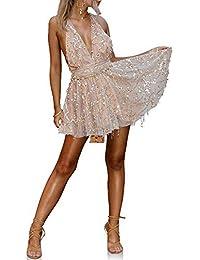 df70456e2b3 Wildeal Mode d été Femme Sexy Mini Robe décolleté V Plongeant Dos Nu Dos Nu