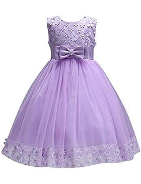 SMITHROAD Kinder Mädchen  Kleid Festlich Ärmellos  mit Blumen und Schleife Applikation Prinzessin Kleid Knielang