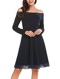 Parabler Damen Elegante Kleider Langarm Spitzenkleid Partykleid  Cocktailkleid Abendkleid Festliches Kleid Rundhals A-Linie Knielang bad4129f84