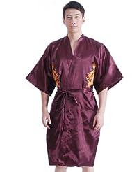 JTC Homme Peignoir Kimono Robe de Nuit/Bain Pyjama de Chambre en Satin