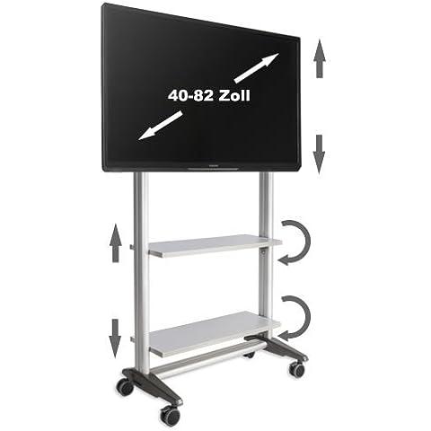 Carrello TV multiripiano Mr 1600per monitor LCD e LED struttura argento con ripiani acero/grigio chiaro