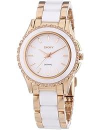 DKNY  NY8821 - Reloj de cuarzo con correa de acero inoxidable para mujer, color blanco