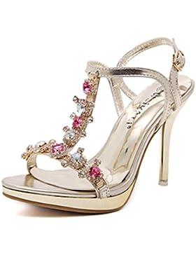 MNII??Zapatos Sandalias De TacóN Alto Color De Verano Rhinestones Banquete De Oro Hueco Partido- Elegante y hermoso