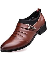 Derby Business Chelsea Chaussures Hommes Mocassins en Microfibre Pointu  Bloc Talon Loisir Soulier 2f154a2ebf7a