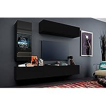 FUTURE 12 Wohnwand Anbauwand Mbel Set Wohnzimmer Schrank Wohnzimmerschrank Matt Schwarz Weiss LED RGB Beleuchtung